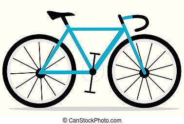 The blue racing bicycle