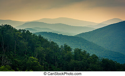 The Blue Ridge Mountains, seen from Skyline Drive in...