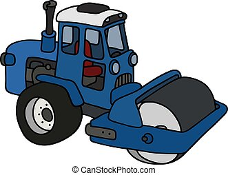 The blue road roller