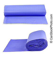 The blue roll of plastic garbage bags isolated on white background