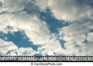 The blue sky with white clouds in clear day
