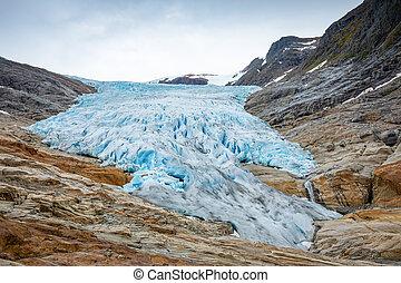 The blue Svartisen Glacier, north Norway