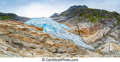 The blue Svartisen Glacier in north Norway