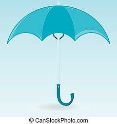The blue symbol of an umbrella to protect from rain.