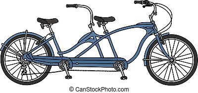 The blue tandem bicycle