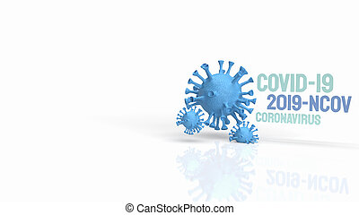 The blue virus on white background for medical and sci content 3d rendering