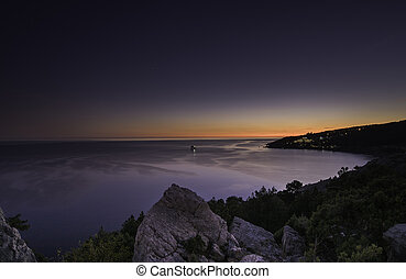 The blue wave. The Black sea. Crimea.
