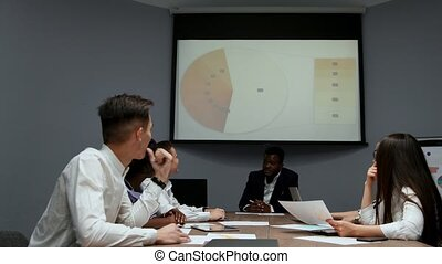 The Board of Directors reviews the chart on the projector and discusses possible movements in market success and the company's performance. Multi ethnic group in the office. Work on production growth in the team. Discussion of development strategy.