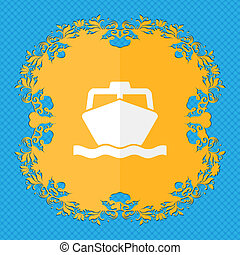 the boat. Floral flat design on a blue abstract background with place for your text.