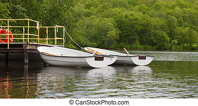 boats with oars near the pier on the lake