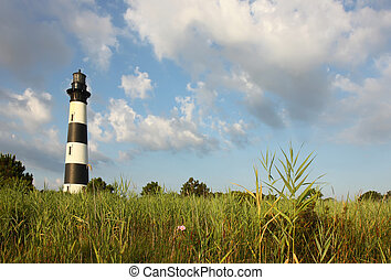 The Bodie Island lighthouse from the marshes