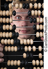 The bookkeeper and abacus - . The image on a black ...