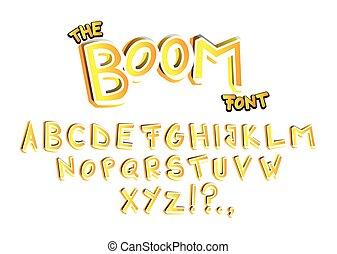The Boom Font - comic book, cartoon style alphabet.