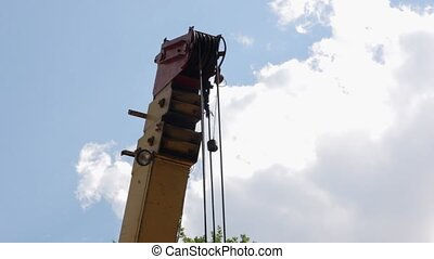 The Boom of a Crane - Boom of building construction crane in...