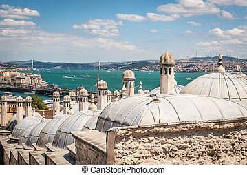 The Bosphorus view from Suleymaniye Mosque in Istanbul, Turkey