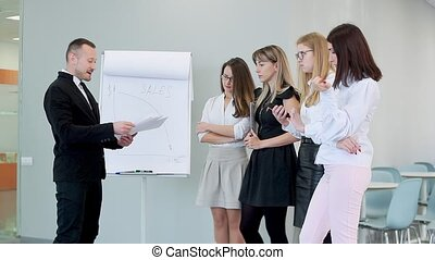 The boss strictly talks to his employees and shows them the poorly done work.
