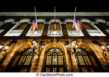 The Boston Public Library at night, in Boston, Massachusetts.