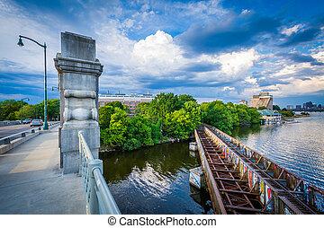 The Boston University Bridge and Charles River at Boston University, in Boston, Massachusetts.