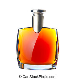 The bottle of brandy (cognac). Isolated on white.