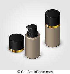 The bottle of foundation. Bottle with dispenser and cap. Vector illustration