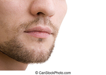 The bottom part of a man's face