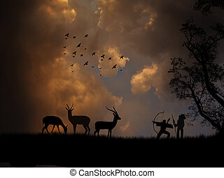 hunting antelope - The bow hunting antelopes on beautiful...