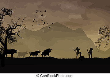 hunting buffalo - The bow hunting buffalo on beautiful...