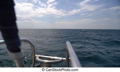 The bow of a yacht sailing in the sea