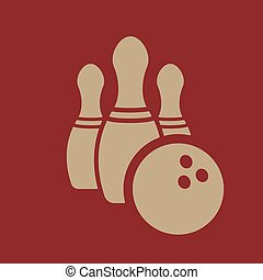 The bowling icon. Game symbol. Flat