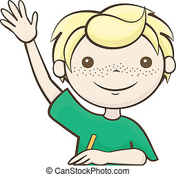kid boy book raise hand illustration of a boy raising his hands rh canstockphoto com raise hand clipart black and white raise my hand clipart