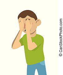 The boy cries. Isolation on white background. Vector flat...