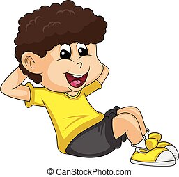 the boy doing exercise cartoon vector illustration