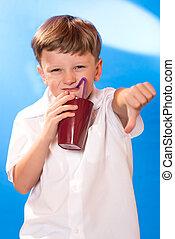 the boy drank a beverage a tubule