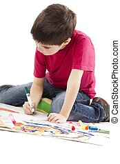 the boy drawing
