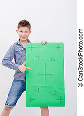 The boy holding a banner on white background