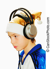 The boy in a celebratory cap and in ear-phones