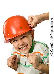 The boy in a helmet