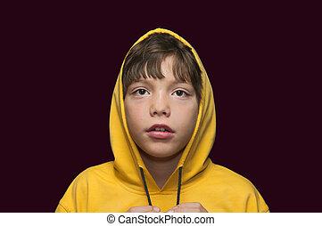 The boy in a hood