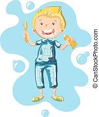 The boy in pajamas brushing his teeth