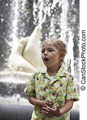 The boy in the fountain