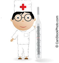 The boy in the medical form with the thermometer on a white...
