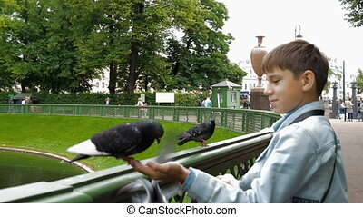 The boy in the park feeding the pigeons.