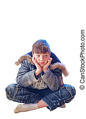The boy in winter clothes