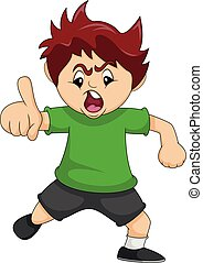 The boy is angry while pointing his finger cartoon vector illustration
