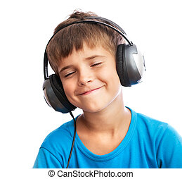 The boy is enjoy the music