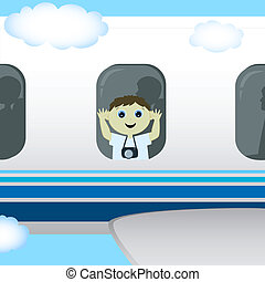 the boy is flying in a plane