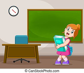 The illustration of the boy is holding the big Tosca book near the teacher's desk