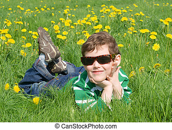 The boy is on the grass with dandelions
