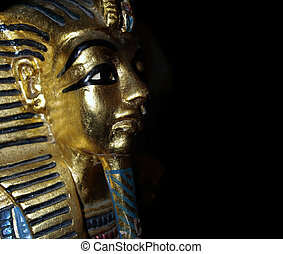 The Boy King - Gold mask motif of the ancient boy Pharaoh in...