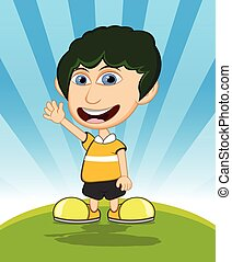 The boy laughing and waving cartoon